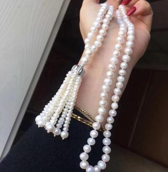 Top new style 7-9 mm REAL Freshwater WHITE pearl necklace