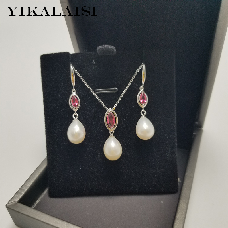YIKALAISI 925 Sterling Silver Jewelry Pearl Sets 2019 Fine Natural Pearl jewelry 8-9mm Sets For Women wholesale