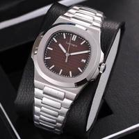 Top Sale watch mens mechanical watches sapphire glass Brown dial stainless steel bracelet sports watch Glide sooth second hand w