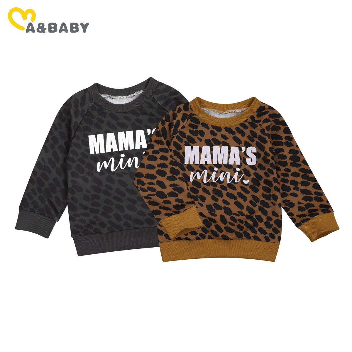 Ma&Baby 0-3Y Autumn Winter Toddler Baby Kid Girls Boys Leopard Sweatshirts Long Sleeve Letter MAMA'S MINI Casual Baby Clothes 1