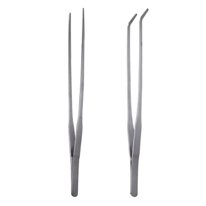 1pcs 27CM Stainless Steel Straight Tweezers And Curved Tip Tweezers Aquarium Plant Shrimp Reef Water Grass Fish Tank Tweezer