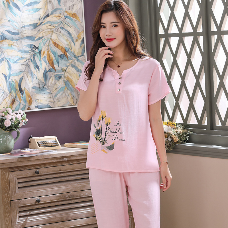 Spring And Summer Short-Sleeved Pullover Tops With Long Trousers Cotton Pajamas Women's Home Suit Plus-sized Summer Pijama Women