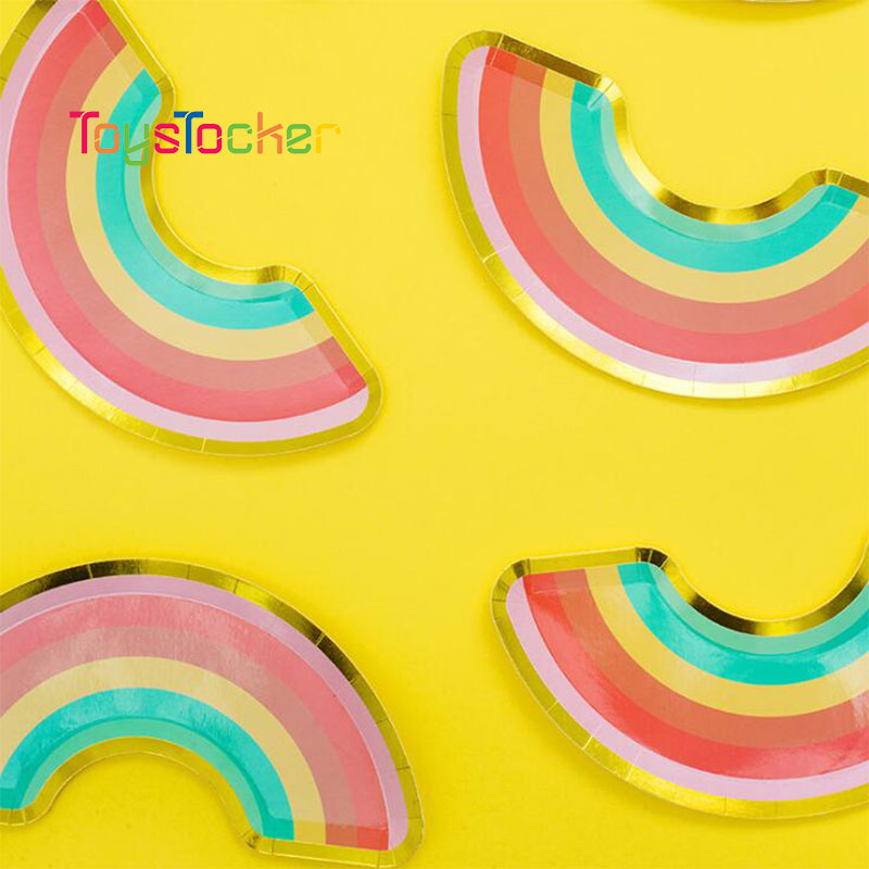 12pcs Little Rainbow Plates Weddiing Birthday Decoration Colorful Ocean Festival For Kids Tableware Party Supplies