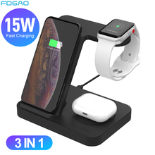 3 in 1 Wireless Charging Station For Samsung Galaxy Watch/Buds/S20/S10 Fast Qi Charger For iPhone 11 XS Apple iWatch Airpods Pro