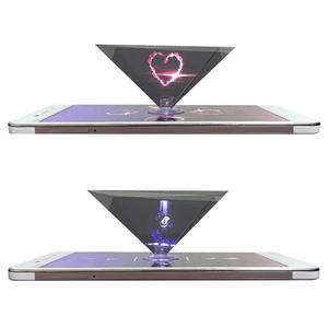 Mini 3D Hologram Pyramid Display Projector Video Stand Universal miniature hologram projector Cute holder For iphone Huawei