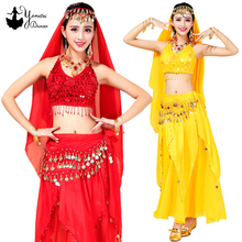 Multicolor High Quality Women Belly Dance Costume Set Stage Performance Set with Belly Dance Belt Polyester Long Skirt 2020 New