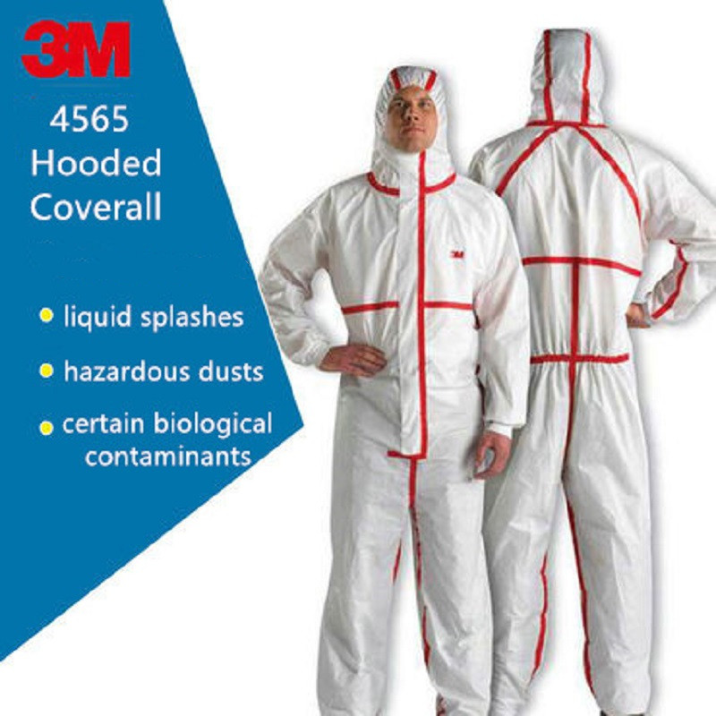 3M 4565 Red Strip Hooded Protective Coverall Non-porous Liquid Splashes Pesticide Spray Paint Safety Suit