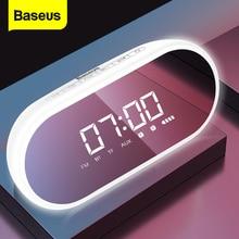 Baseus E09 휴대용 블루투스 스피커와 알람 시계 무선 스피커 음악 서라운드 시끄러운 스피커 전화 PC 컴퓨터