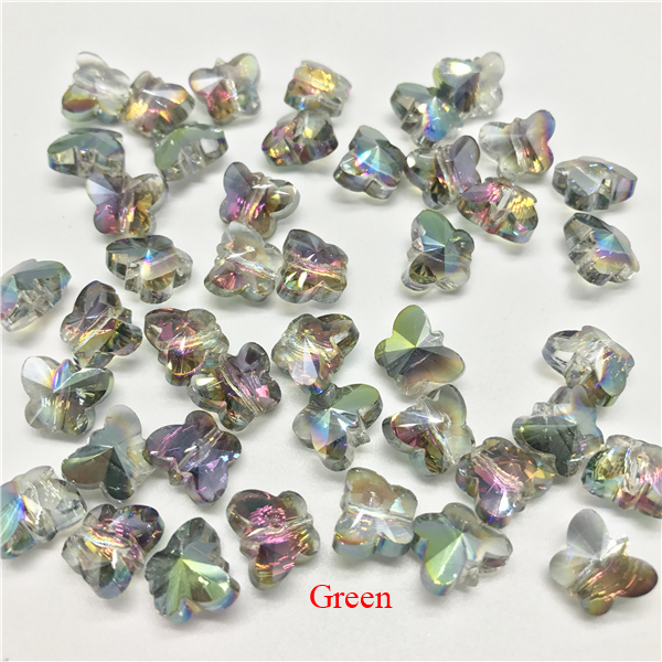 100 Pcs/lot Small Colorful Crystal Butterfly Beads Glass Beads For Jewelry Making Butterfly Beads For Jewelry Diy
