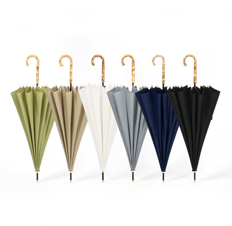 Purple Lang Steel Umbrella Bone Straight Umbrella Japanese-style Hipster Plain Color Manual Long Umbrella College Style Dual Pur