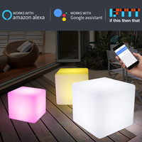 wifi smart rechargeable cube lamp MP APP wireless control led stool chair outdoor decor night light works with alexa google home
