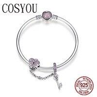 COSYOU Genuine 925 Sterling Silver Love Key Heart Shape Bracelets Bangles for Women Purple Zircon Valentine Gift Jewelry SCB820