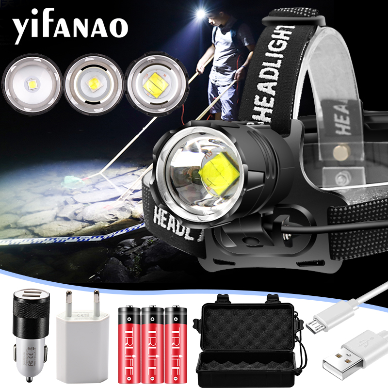3000Lumen XHP-70.2 Led Headlamp Fishing Camping Headlight High Power Lantern Head Lamp Zoomable USB Torches Flashlight 18650