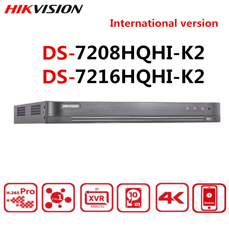 Hikvision Original Turbo HD DVR DS-7208HQHI-K2 DS-7216HQHI-K2 8CH 16CH 4MP HDTVI/HDCVI/AHD/CVBS Signal HDMI Output At Up To 4K