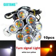 GEETANS – feu clignotant LED 10 pièces/ensembles 23mm, blanc à jaune, DRL, yeux d'aigle, feux de jour, signalisation antibrouillard, style CJ