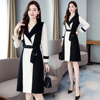 Elegant Harajuku Trench-coat Women Autumn Long-sleeved Casual Solid Overcoat Long-coat Streetwear Loose Hip Hop Top Windbreaker