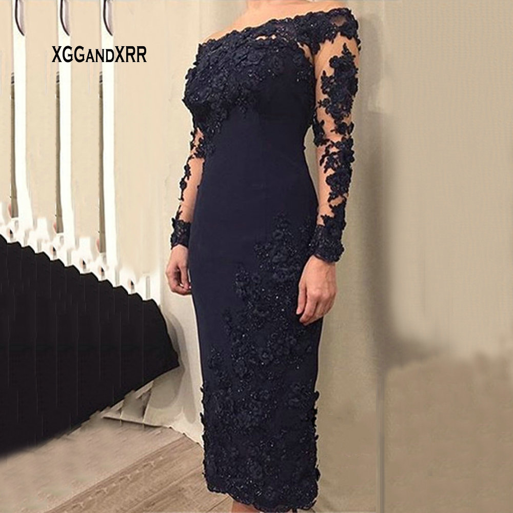 Elegant Navy Straight Tea Length Evening Dress 2019 Boat Neck Long Sleeves Beading Mother Of The Bride Dress For Wedding Party