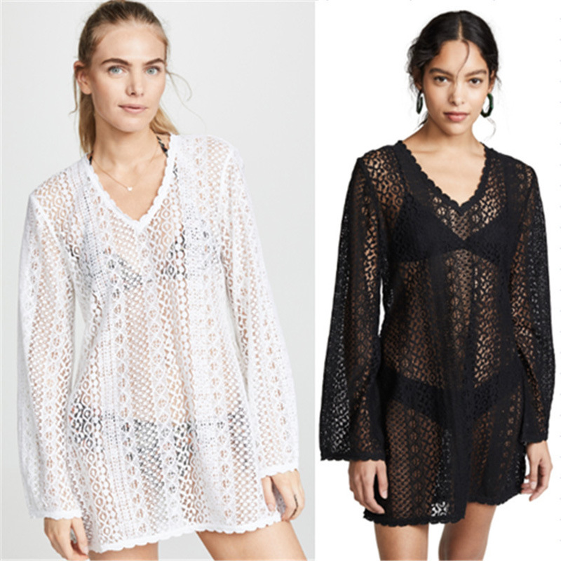 Europe And America New Style Lace Sun Protection Clothing Beach Skirt Sexy Long Sleeve Bikini Outer Blouse Bathing Suit Skirt 85