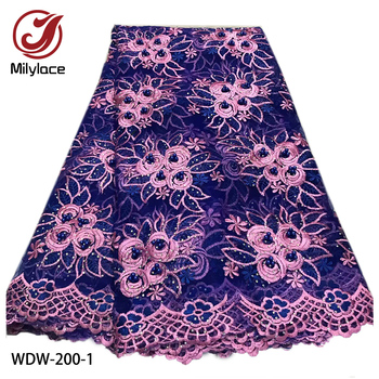 Latest African Tulle Mesh Lace Fabric High Quality French Embroidered Lace Fabric with Beads and Stones for Wedding WDW-200