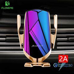 Floveme 10W Charger Nirkabel Mobil Ponsel Pemegang Sensor Inframerah Ventilasi Udara Mobil Dudukan untuk Ponsel Otomatis Menjepit Berdiri