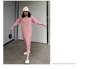 Image 3 - Turtleneck Cashmere  Knitted Sweater Dress Women Autumn Spring Noodles Elastic Long Sleeve thick  Pullover  Winter Dress