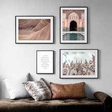 Nordic Canvas Painting Building Poster Print Landscape Desert Abstract Art Wall Pictures Home Decor