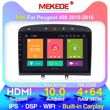 New system!PX6 8cores 4+64GB android 10 car radio player for PEUGEOT 308 408 2010-2016 Built-in carplay WiFi DSP 4G LTE image