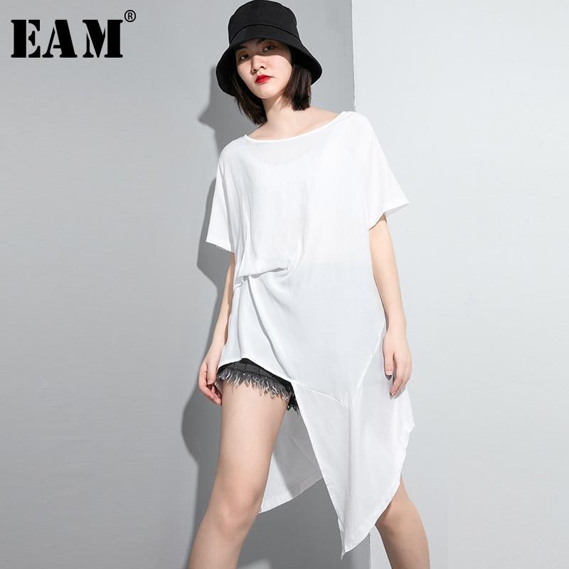 [EAM] Women White Asymmetrical Big Size Long T-shirt New Round Neck Short Sleeve  Fashion Tide  Spring Summer 2020 1U029