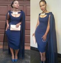 Темно синие короткие вечерние платья 2020 африканские чайные