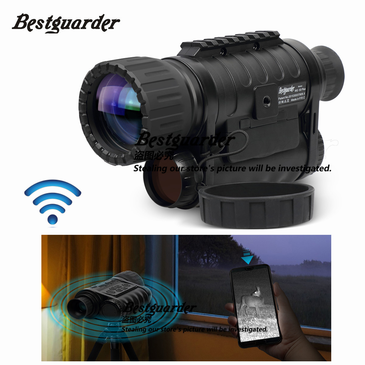 Bestguarder WG-50 Plus Nachtsicht Teleskop mit Wifi Funktion IR Monokulare Wildlife 6x50mm Jagd Infrarot 850NM HD kamera