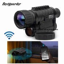 Bestguarder telescópio WG 50 plus, visão noturna com função wifi ir, monocular, vida selvagem 6x50mm, caça infravermelho 850nm hd câmera fotográfica para câmera