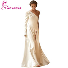 цена на Vestido De Noiva One Shoulder Wedding Dresses 2020 Long Sleeves Bride Dresses Simple Satin Bridal Gowns Side Slit Robe De Mariee