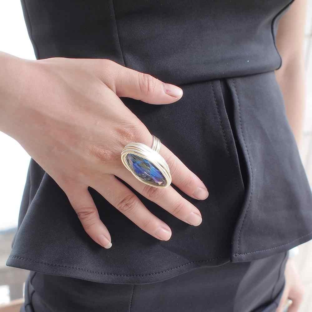 MANILAI โลหะทำด้วยมือลวดคริสตัลแหวนผู้หญิงโบฮีเมียนเครื่องประดับนิ้วมือแหวนอุปกรณ์เสริม 2019