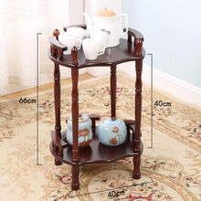 Современный китайский журнальный столик из твердой древесины, универсальная полка в форме цветка, коричневый двухслойный стеллаж, боковая угловая полка для чая