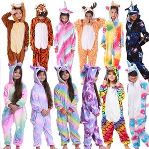 Kigurumi Flannel Onesie Children Pajamas Winter Hooded Animal Unicorn Cartoon Kids Pajamas For Boys Girls Onesie Sleepwear