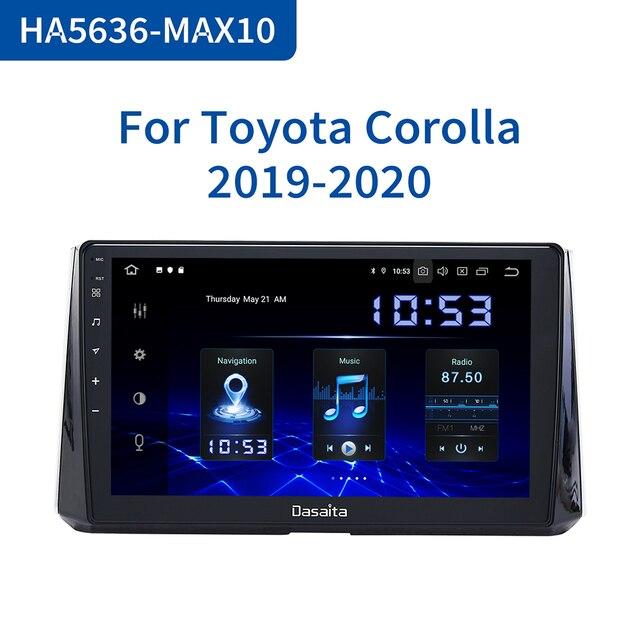 "Dasaita 1 Din 10.2 ""IPS Android 10.0 Car Radio for Toyota Corolla 2019 카 스테레오 DSP 블루투스 GPS 4GB RAM MAX10"