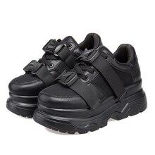 Women's Platform Chunky Sneakers 2019 fashion Mesh Buckle female Thick Bottom
