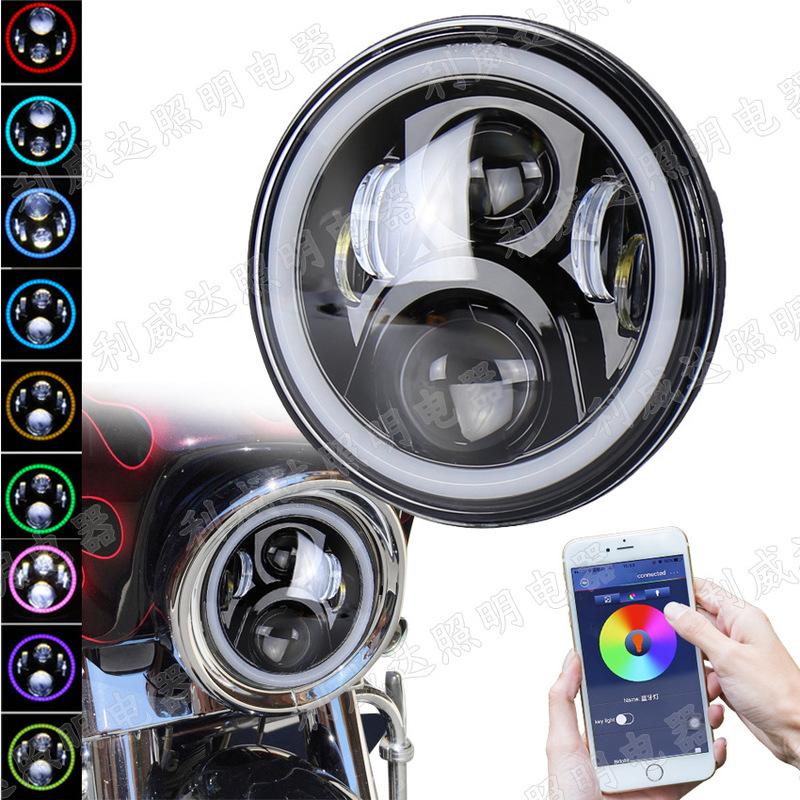 Levida Mobile App Controls RGB Color Angel Eye Diaphragm Motorcycle Headlamp 7-inch Led Motorcycle Lamp