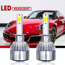 2 шт. C6 налобный светодиодный H7 H4 H11 COB Белый Автомобильный головной светильник светодиодный лампы Hi/Lo H1 H3 HB1 автомобильный головной светильник 6000K мини светодиодный противотуманный фонарь