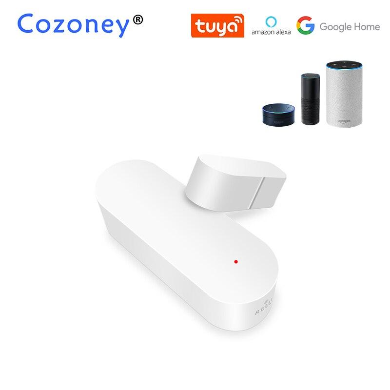 Tuya inteligente wi fi porta janela detector de alarme de segurança em casa sem fio controle app compatível amazon alexa google casa controle voz