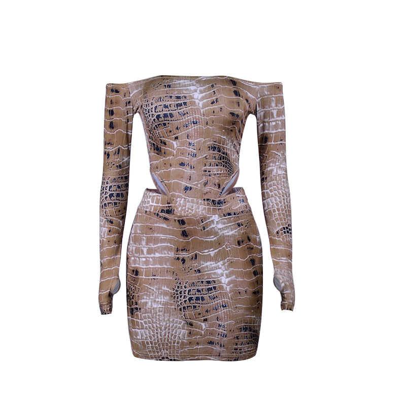 Simenual seksowny gorący nadruk węża pasujący zestaw damski Off Shoulder Fashion 2019 dwuczęściowe stroje z długim rękawem body i komplety spódniczek