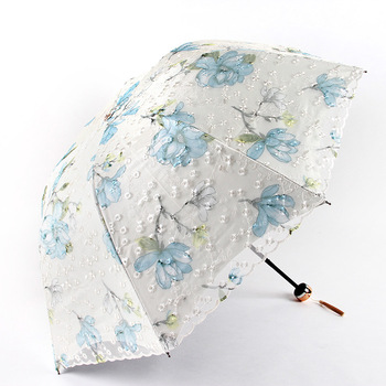 Aurora Embroidered Double Layer restonic san Three-fold Umbrella A1907 Vinyl UV Sunscreen Parasol All-Weather Umbrella image