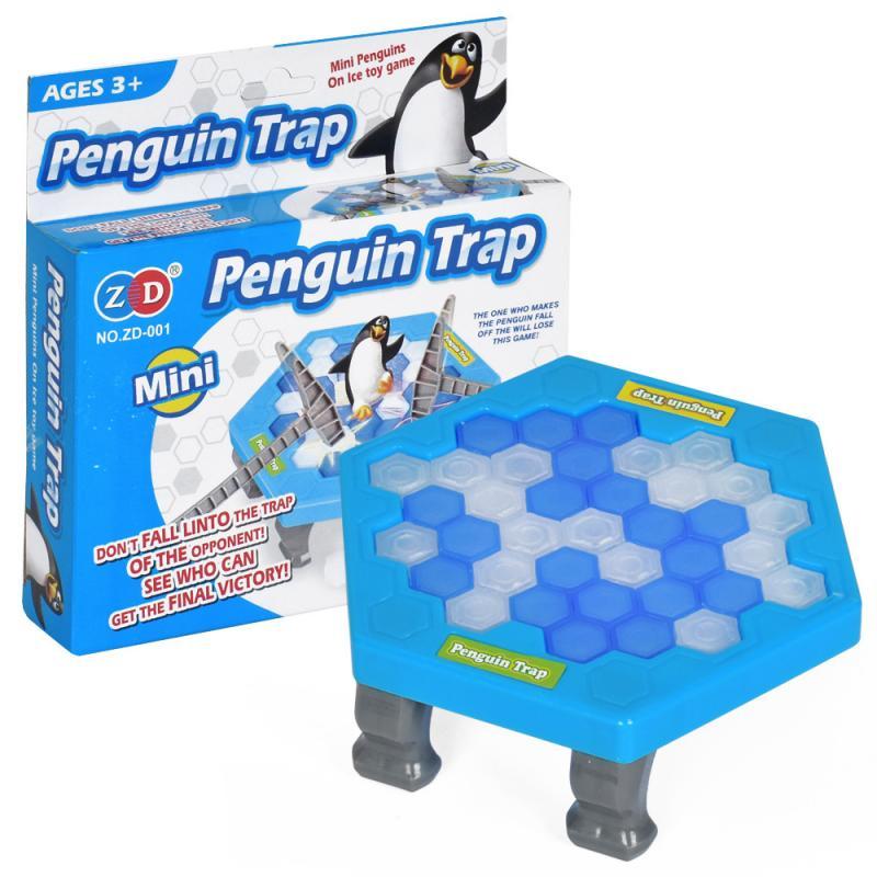 HOT! Mini pinguim armadilha pai-filho interativo entretenimento indoor jogo de tabuleiro brinquedos para criança família quebra bloco de gelo salvar pinguim