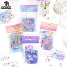 Mr. papel 20 pçs/set 4 desenhos animados estilo azul estrelado mar série bloco de memorando adesivo criativo mão conta deco diy material papel