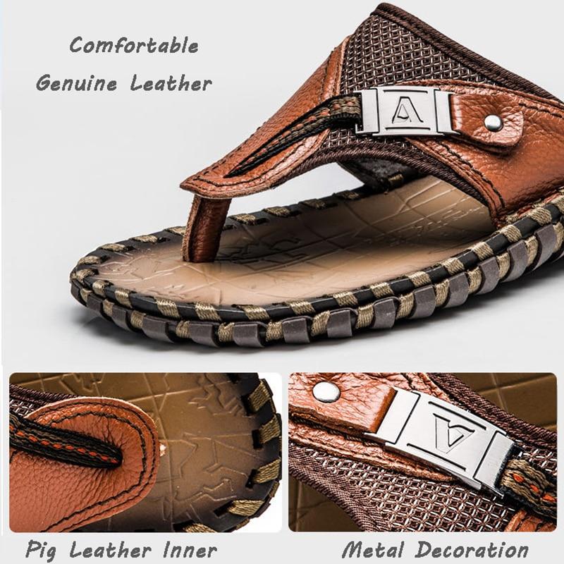 Merk 2018 Nieuwe Mannen Slippers Lederen Slippers Zomer Mode Strand Sandalen Schoenen Voor Mannen Big Size 45 - 4