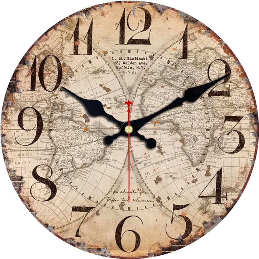 RIHE Retro World Map Silent Art Large Wooden Wall Clock, Wall Watch For Home Decor Study, No Ticking Sound, Creative Decor