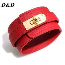 D & D Gelang Kulit Multi Layer Alloy MS Gelang Wanita Retro Punk Kasual Gelang Perhiasan Aksesoris(China)