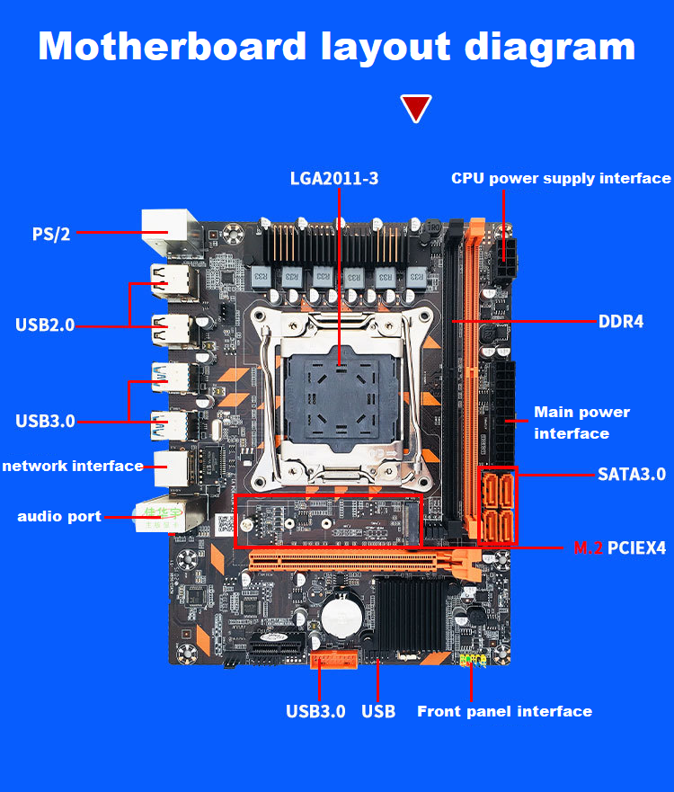 X99 DDR4 Motherboard Slot LGA2011-3 USB3.0 NVME M.2 SSD Support DDR4 Memory And Xeon E5 V3 Processor D4 RAM 4