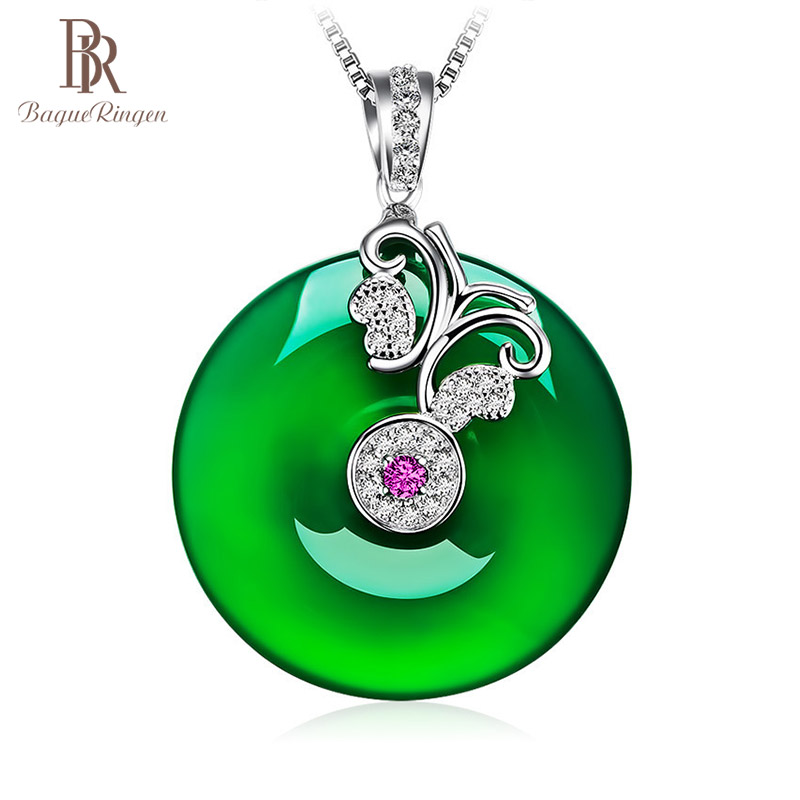 Bague Ringen 925 Silver Jewelry Clavicle Necklace For Women Anniversary Mother's Day Gifts Chrysoprase Pendant Temperament Lady