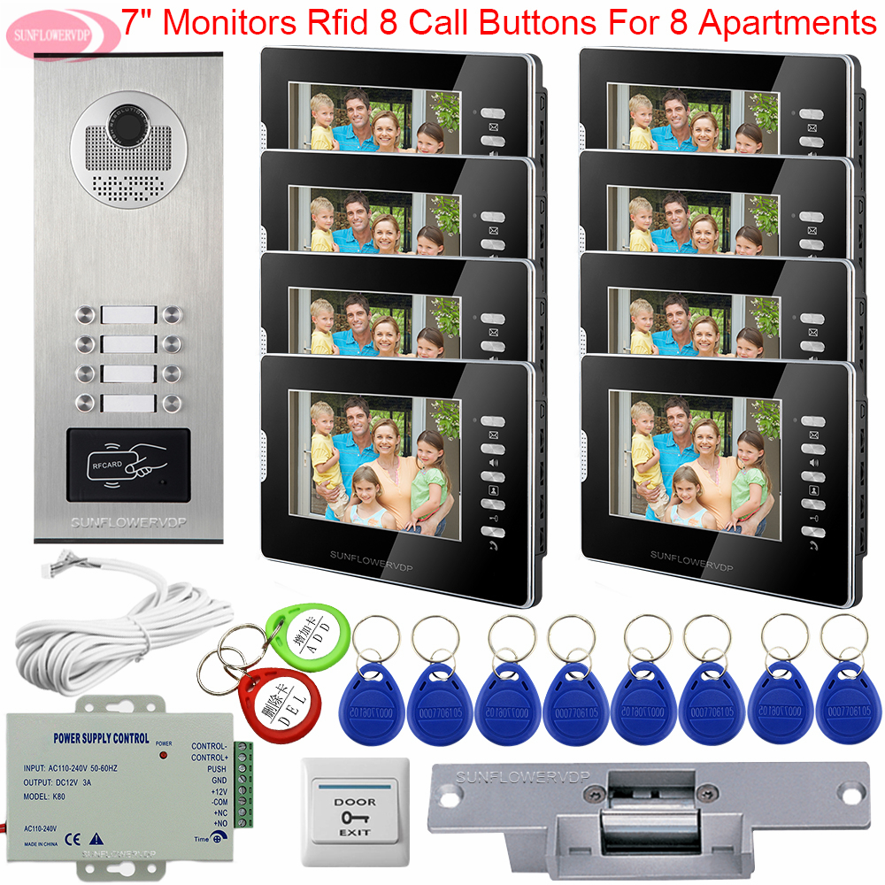 Intercom For A Private House Video Doorbell With Monitors Access Control Door Station For Video Intercom + Electric Strike Lock